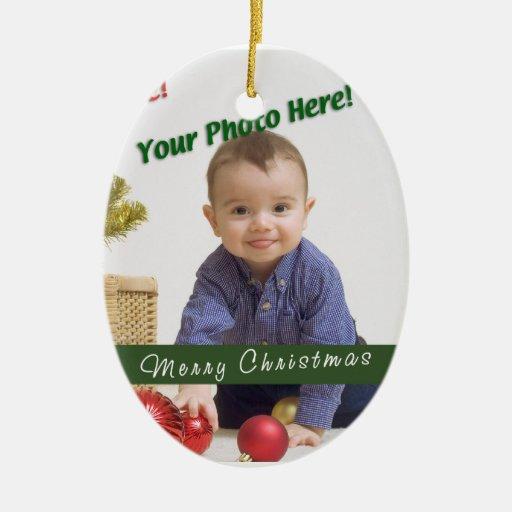 Custom Photo Double-Sided Oval Ceramic Christmas Ornament