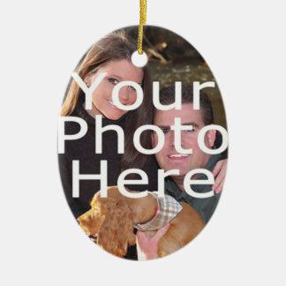 Custom Photo Oval Christmas Ornament