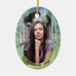 Custom Photo Oval Pastel Frame Christmas Ornament