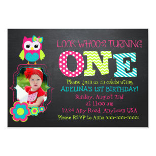 Custom Photo Owl 1st Birthday Invitation