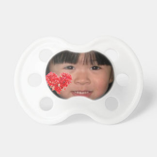 Custom Photo Pacifier with Red Heart Design