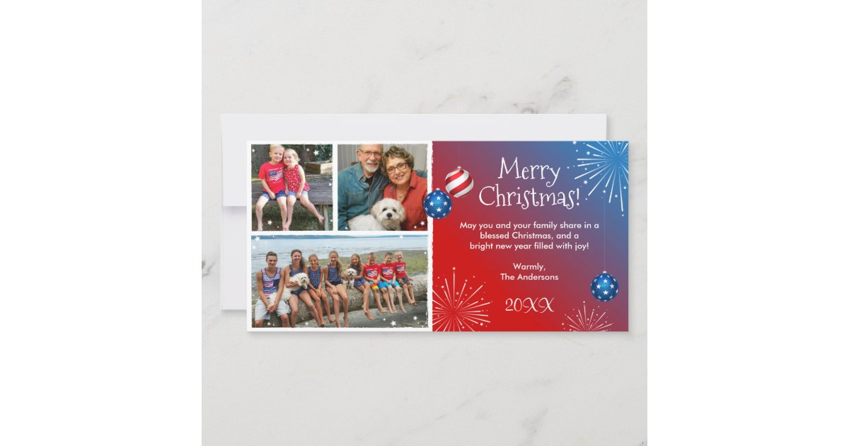 Custom Photo Patriotic Christmas Cards | Zazzle.com