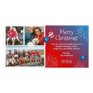 Custom Photo Patriotic Christmas Cards