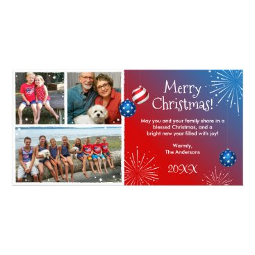 Beach Themed Custom Photo Patriotic Christmas Cards