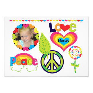 Custom Photo Peace, Love, and Birthdays Invitation