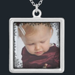 """Custom Photo Pendant with Floral Lace Border<br><div class=""""desc"""">Custom photo frame for your favorite picture of your baby,  grandchild,  military sweetheart,  boyfriend or girlfriend or even your family pet!  Simply upload your image into this flower and lace border for a unique one of a kind photo keepsake. Personalized  Silver photo memento for you or your loved one.</div>"""