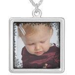 Custom Photo Pendant with Floral Lace Border Square Pendant Necklace