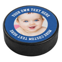 Custom Photo Personalized Blue Hockey Puck