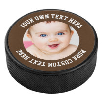 Custom Photo Personalized Brown Hockey Puck