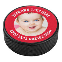 Custom Photo Personalized Red Hockey Puck
