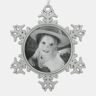 Custom Photo Pewter Snowflake Ornament Template at Zazzle