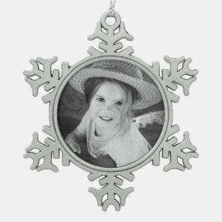 Custom Photo Pewter Snowflake Ornament Template