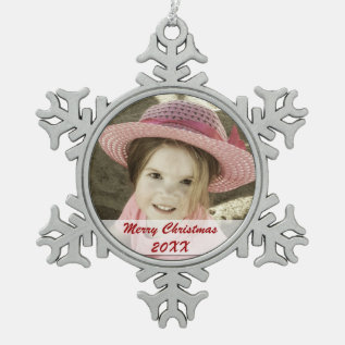 Custom Photo Pewter Snowflake Ornaments at Zazzle