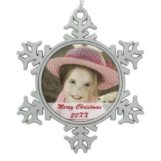 Custom Photo Pewter Snowflake Ornaments