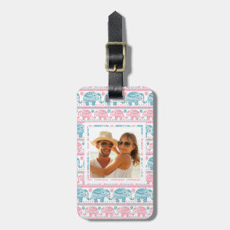Custom Photo Pink And Teal Elephant Pattern Luggage Tag