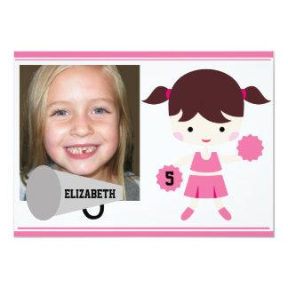 Custom Photo Pink Cheerleader Birthday Invite