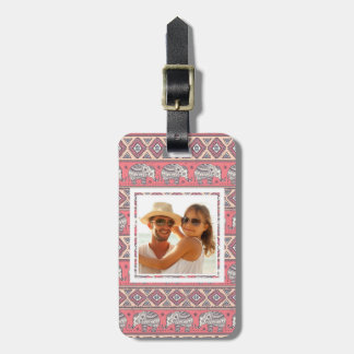 Custom Photo Pink Ethnic Elephant Pattern Bag Tag