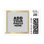 custom photo postage<br><div class='desc'>Faux gold border with your special photo...  a nice idea to personalize your wedding invitations,  or for any other occasion</div>