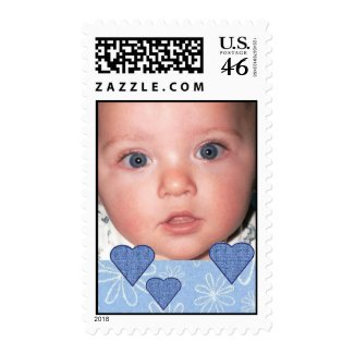 Custom Photo Postage Stamp with Blue Hearts