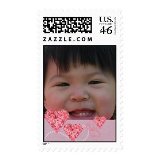Custom Photo Postage Stamp with Pink Hearts