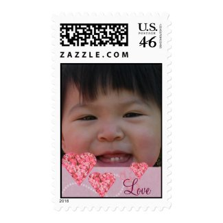 Custom Photo Postage Stamp with Pink Hearts Love