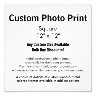"Custom Photo Print - Square 12"" x 12"""