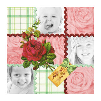 Custom Photo Quilt Block Red Pink Rose Green Plaid Canvas Print