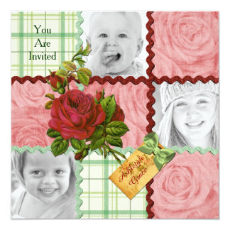 Custom Photo Quilt Block Red Pink Rose Green Plaid 5.25x5.25 Square Paper Invitation Card