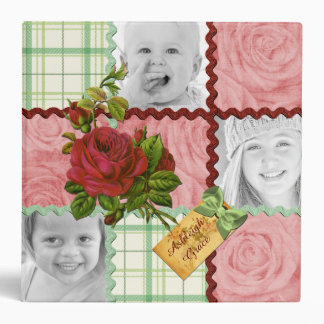 Custom Photo Quilt Frame Red Pink Rose Green Plaid Binder