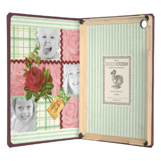 Custom Photo Quilt Frame Red Pink Rose Green Plaid iPad Air Cases