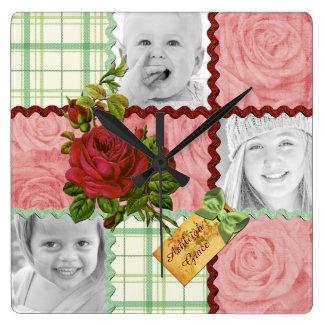 Custom Photo Quilt Frame Red Pink Rose Green Plaid Square Wallclock