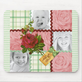 Custom Photo Quilt Frame Red Pink Rose Green Plaid Mouse Pad