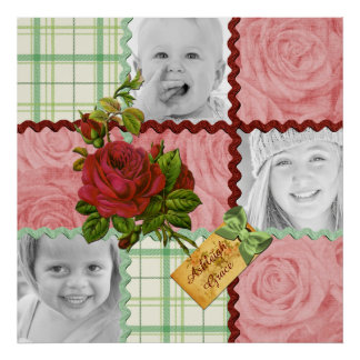 Custom Photo Quilt Frame Red Pink Rose Green Plaid Poster