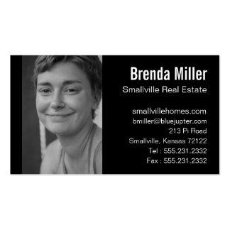 Custom Photo Real Estate Business Black White Business Card