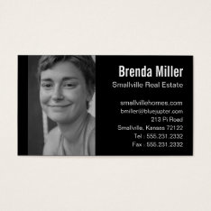 Custom Photo Real Estate Business Black White Business Card at Zazzle
