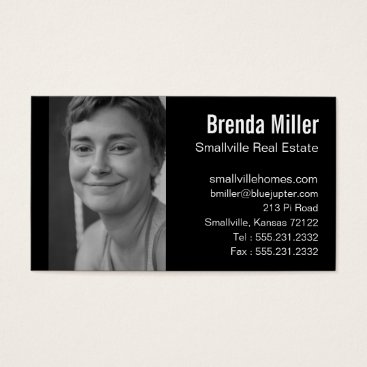 Professional Business Custom Photo Real Estate Business Black White Business Card