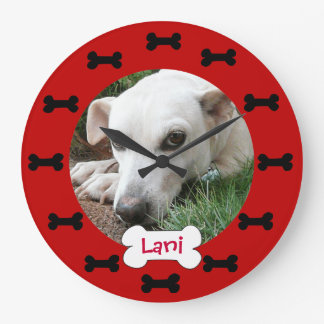 Custom Photo Red and Black Bones Add Your Dogs Pic Large Clock