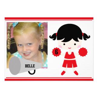 Custom Photo Red Cheerleader Birthday Invite