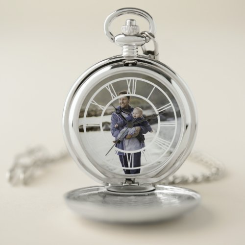 Custom Photo Roman Numeral Pocket Watch