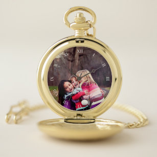 13aaa5881 Custom Photo & Roman Numerals Pocket Watch