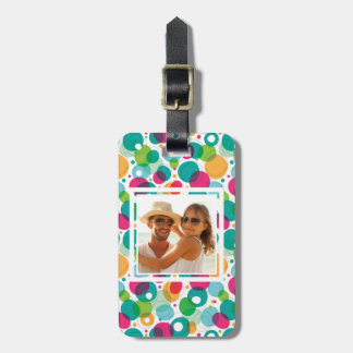 Custom Photo Round bubbles kids pattern Bag Tag
