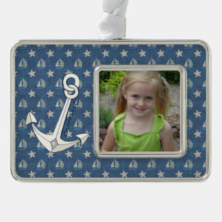 Custom Photo Sailboats and Anchor on Blue Linen Silver Plated Framed Ornament