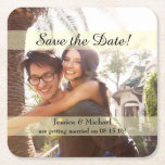 "Custom Photo Save the Date Square Paper Coaster<br><div class=""desc"">Replace the image on this customizable save the date coaster with one of your own engagement shots. Customize the names and date,  and you&#39;re all set! Send out this cute reminder of your wedding day to your friends and family.</div>"