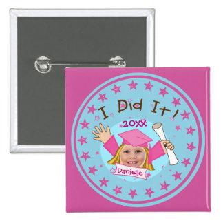 Custom Photo School Girl's Graduation Button