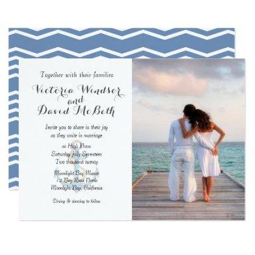 Beach Themed Custom Photo Sea Blue Beach Wedding Invitation