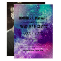 Custom Photo Smokey Galaxy Wedding Invitation