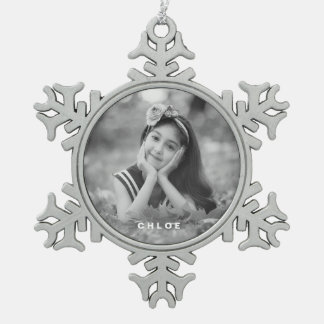 Custom Photo Snowflake Ornament - Text Overlay