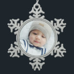 """Custom Photo Snowflake Pewter Christmas Ornament<br><div class=""""desc"""">Create your own personalized photo gift by add your own photo,  from your beloved family photo to your adorable pet photo,  to make your design unique.  Please Note: Photos shown on product are sample photos with watermark for presentation purposes only.</div>"""