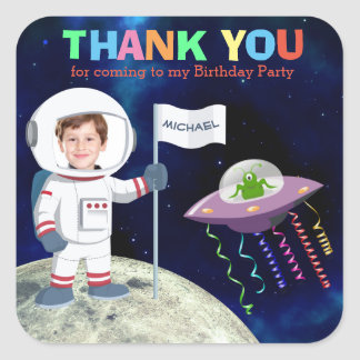 Custom Photo Spaceman Birthday Thank You Square Sticker