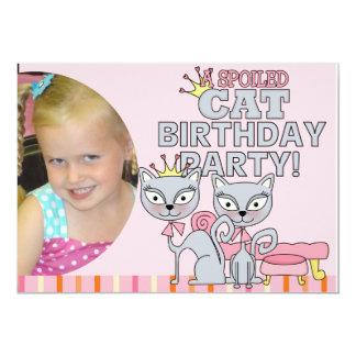 """Custom Photo Spoiled Cat Birthday Party Invitation 5"""" X 7"""" Invitation Card"""